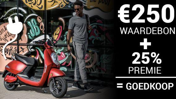 250 euro Waardebon en 25% premie voor Monasso Elektrische Scooter